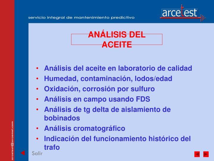 ANÁLISIS DEL ACEITE