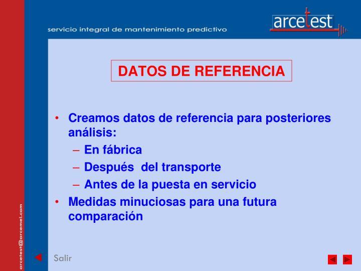 DATOS DE REFERENCIA
