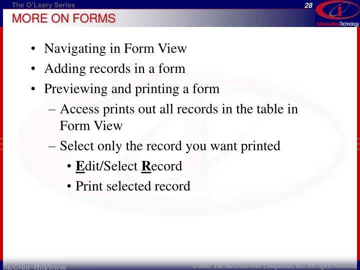MORE ON FORMS