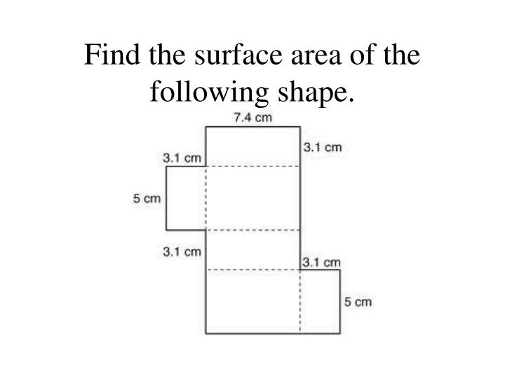 Find the surface area of the following shape.
