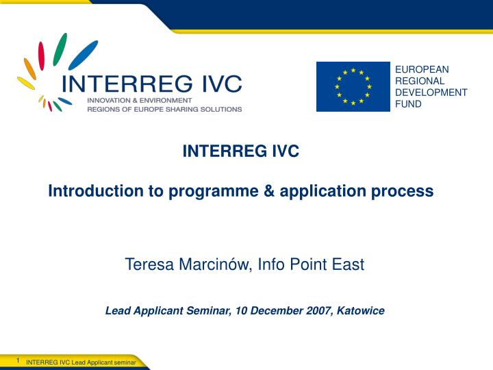 interreg ivc introduction to programme application process n.