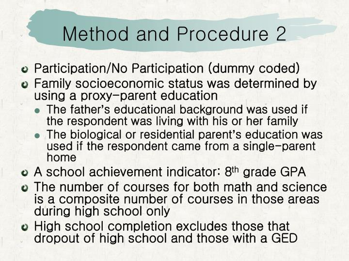 Method and Procedure 2