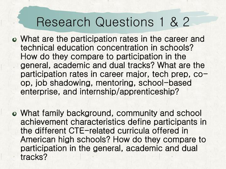 Research Questions 1 & 2