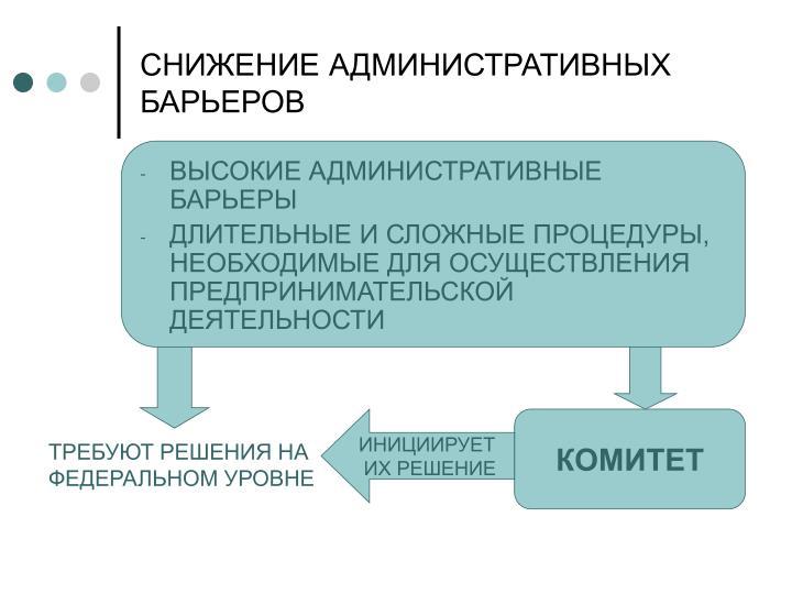 СНИЖЕНИЕ АДМИНИСТРАТИВНЫХ БАРЬЕРОВ