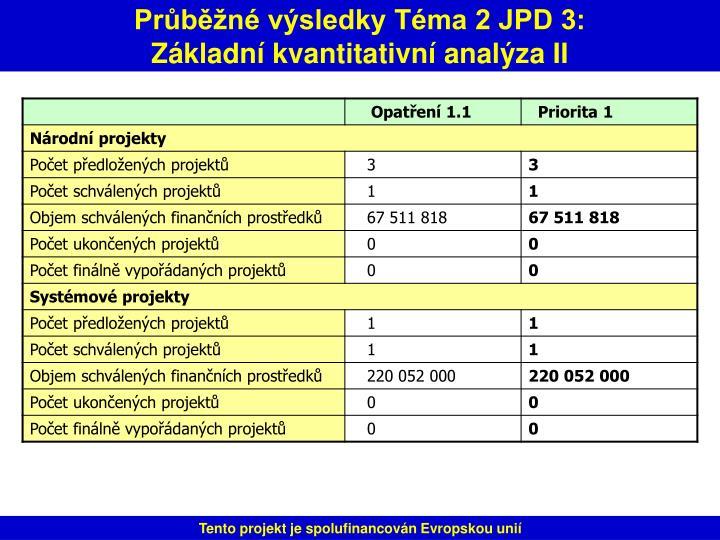 Průběžné výsledky Téma 2 JPD 3:
