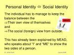 personal identity social identity