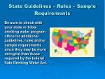state guidelines rules sample requirements