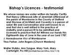 bishop s licences testimonial