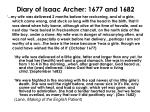 diary of isaac archer 1677 and 1682