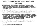diary of isaac archer re his wife anne peachey