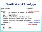specification of timetype