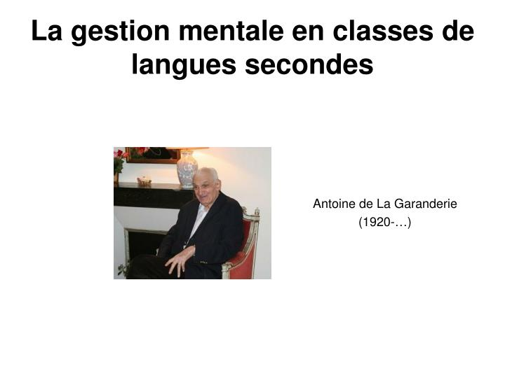 la gestion mentale en classes de langues secondes n.