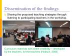 dissemination of the findings