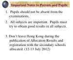 important notes to parents and pupils