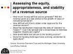 assessing the equity appropriateness and stability of a revenue source