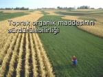 toprak organik maddesinin s rd r lebilirli i