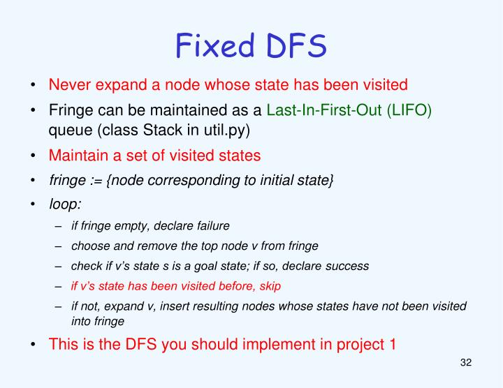 Fixed DFS