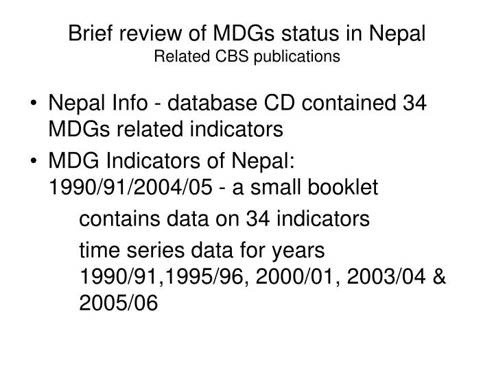 Brief review of MDGs status in Nepal