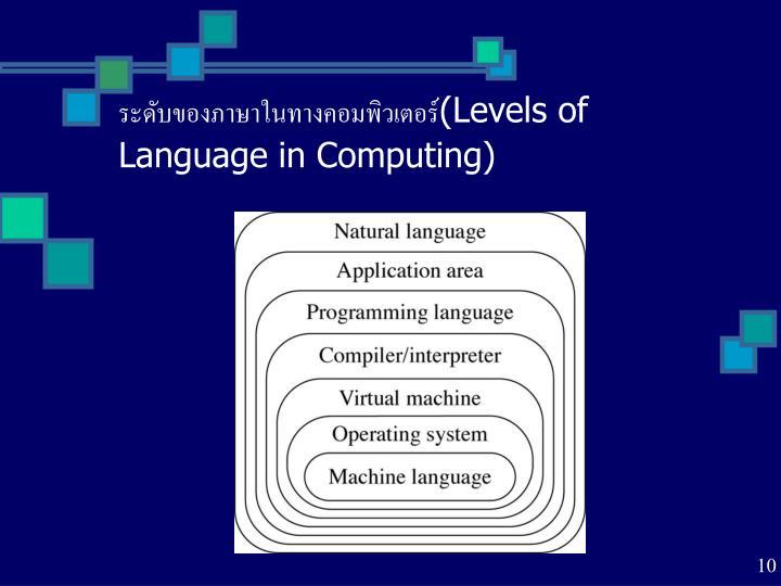 ระดับของภาษาในทางคอมพิวเตอร์(Levels of Language in Computing)