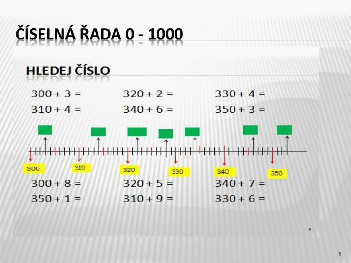 Číselná řada 0 - 1000