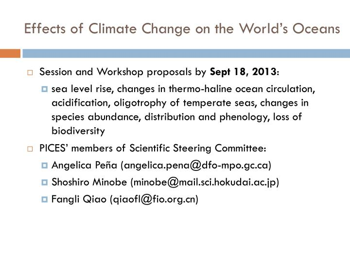 Effects of climate change on the world s oceans1