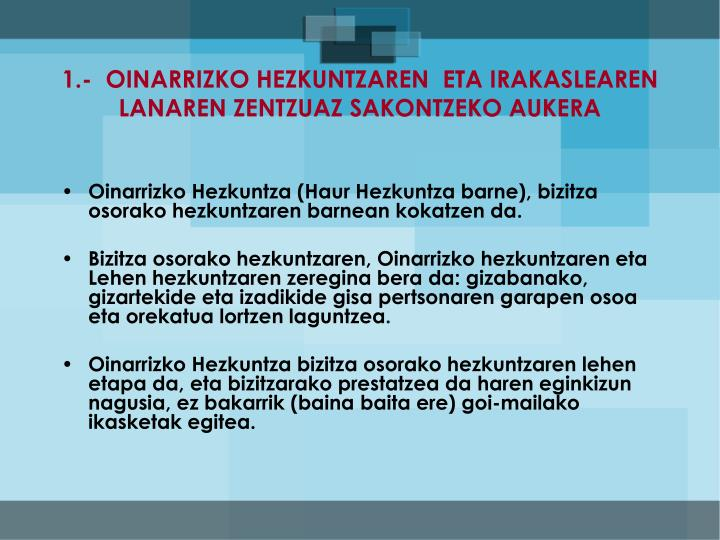 1.-  OINARRIZKO HEZKUNTZAREN  ETA IRAKASLEAREN LANAREN ZENTZUAZ SAKONTZEKO AUKERA