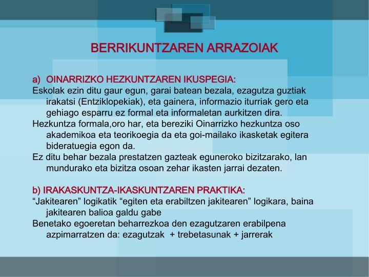 BERRIKUNTZAREN ARRAZOIAK