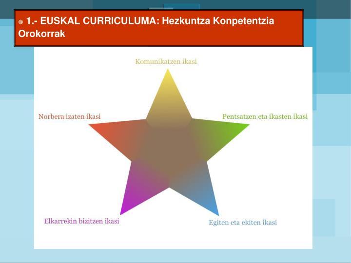 1.- EUSKAL CURRICULUMA: Hezkuntza Konpetentzia Orokorrak
