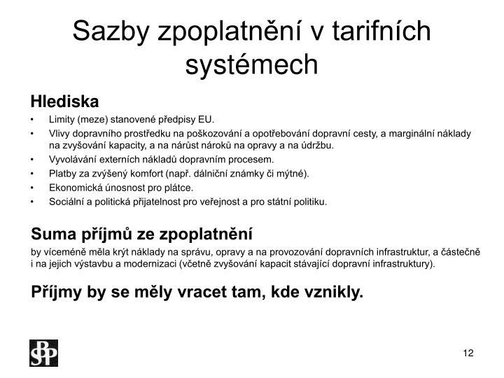 Sazby zpoplatnění v tarifních systémech