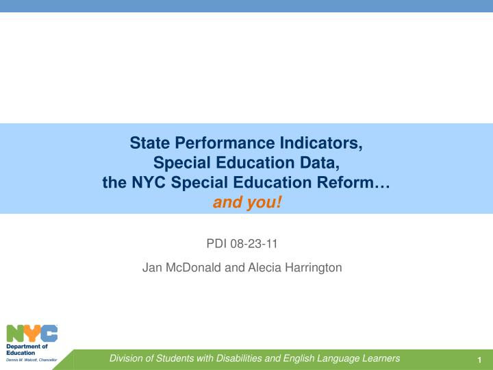 state performance indicators special education data the nyc special education reform n.