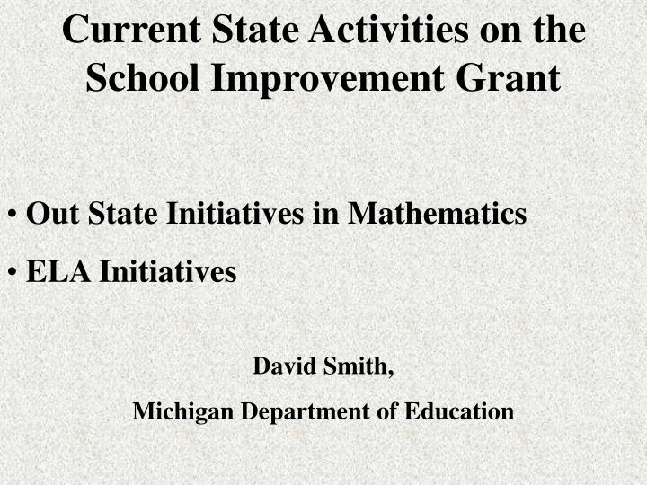 Current State Activities on the School Improvement Grant