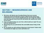 section 1 neighbourhood and belonging