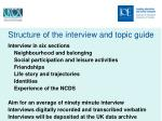structure of the interview and topic guide