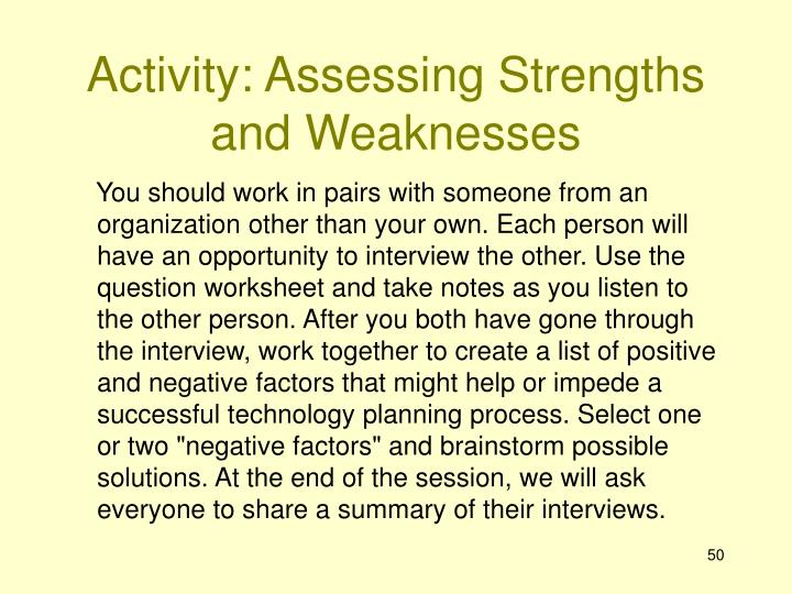 Activity: Assessing Strengths and Weaknesses