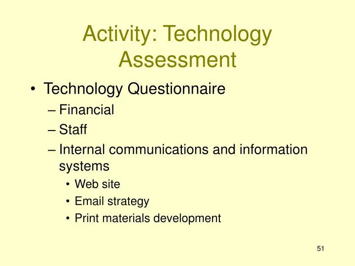 Activity: Technology Assessment
