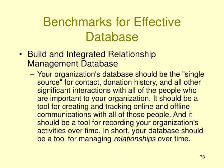 Benchmarks for Effective Database