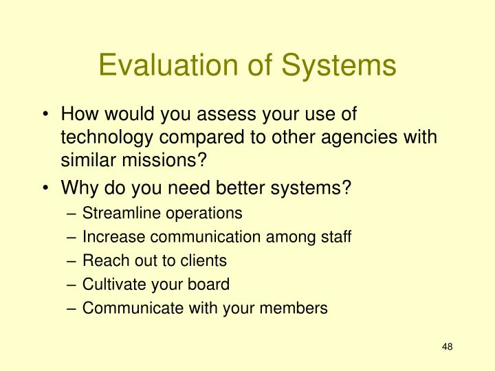 Evaluation of Systems