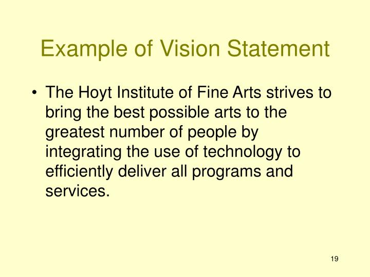 Example of Vision Statement