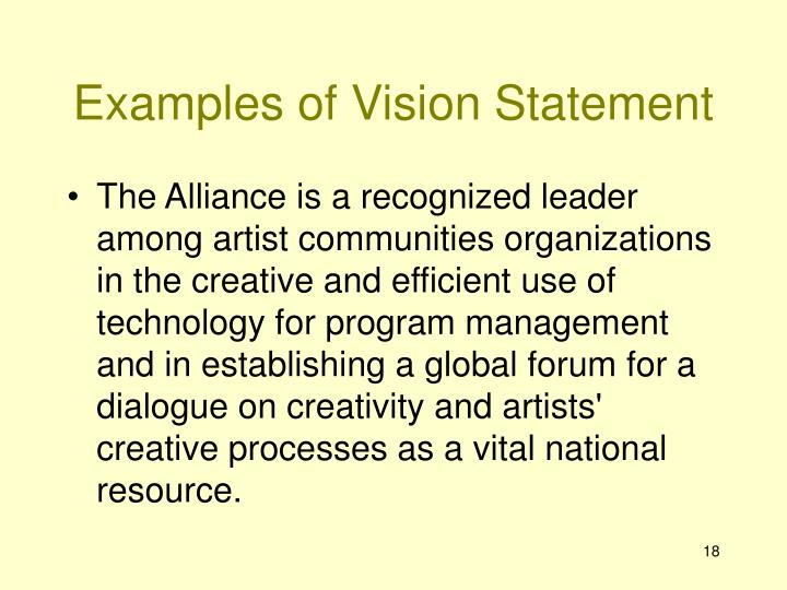 Examples of Vision Statement