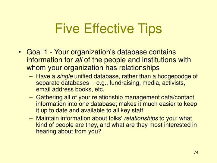 Five Effective Tips