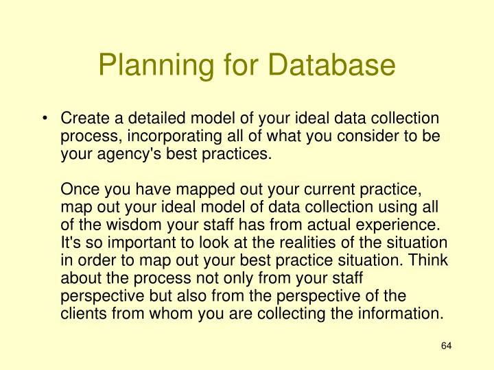 Planning for Database