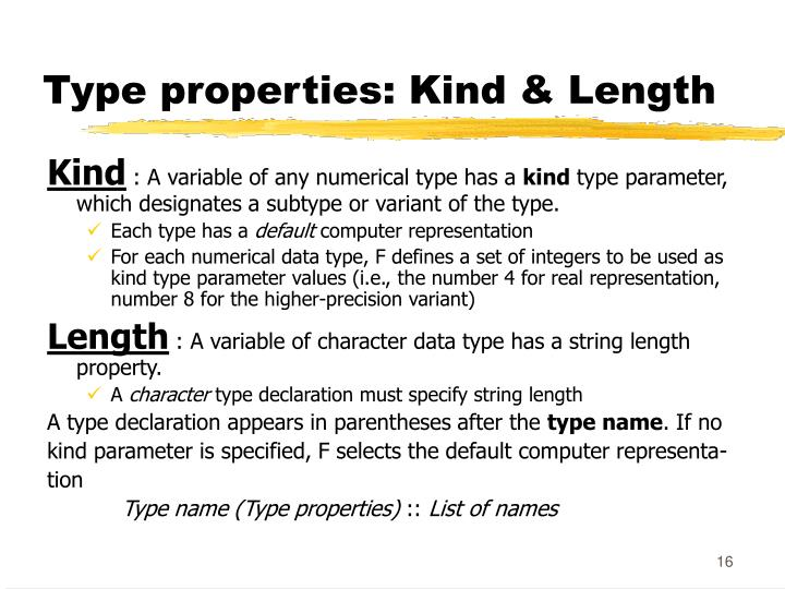 Type properties: Kind & Length