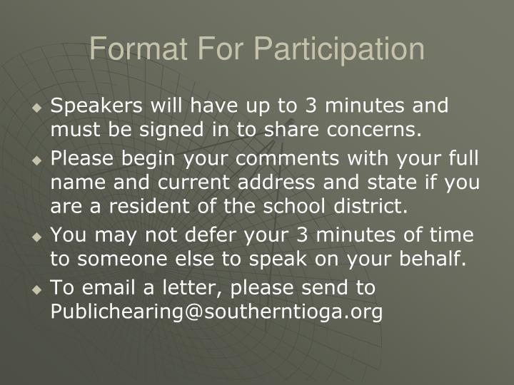 Format For Participation