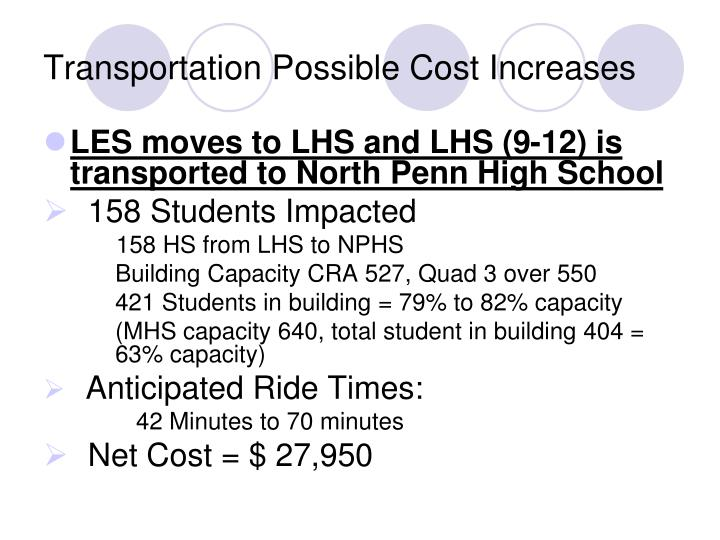 Transportation Possible Cost Increases