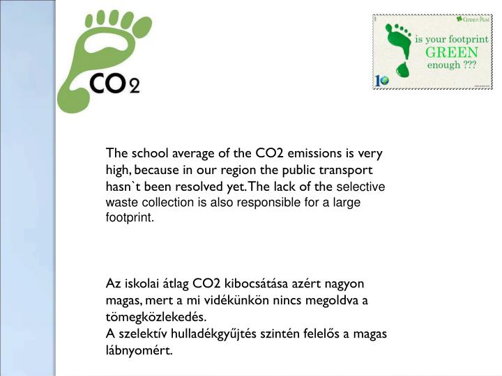 The school average of the CO2 emissions is very high, because in our region the public transport hasn`t been resolved yet. The lack of the