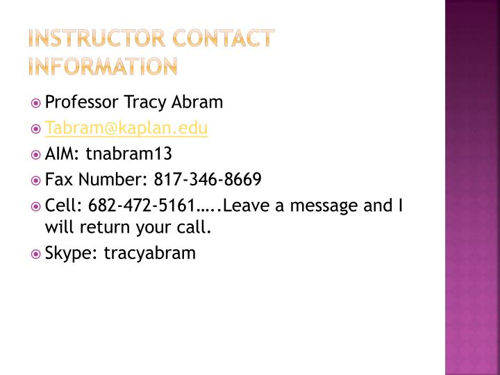 Instructor contact information