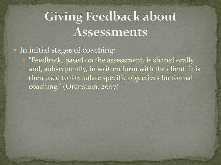 Giving Feedback about