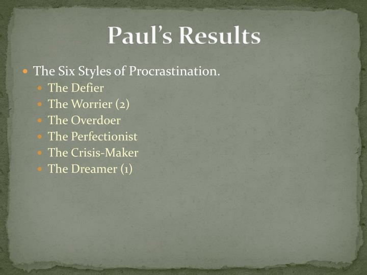 Paul's Results
