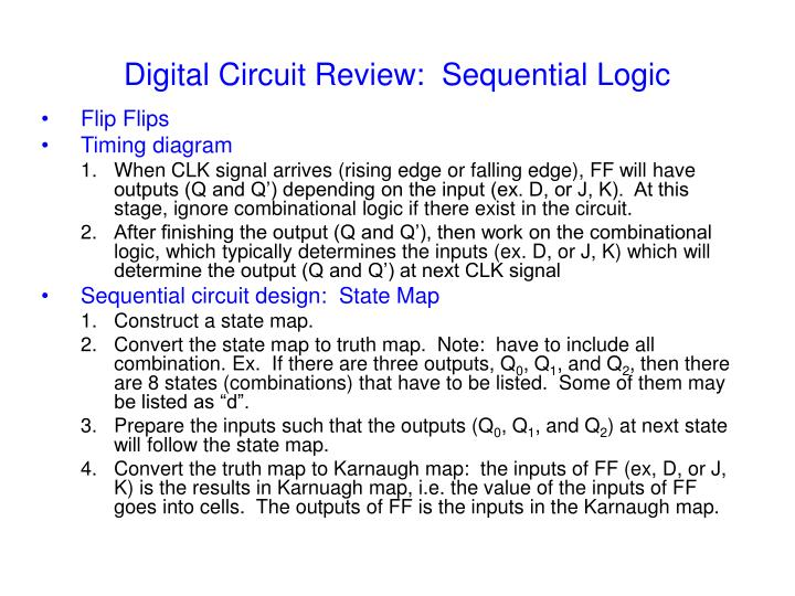 Digital circuit review sequential logic