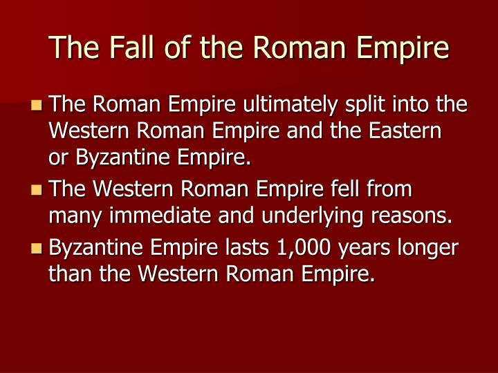 the reasons of the fall of the roman empire